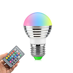 3W E26/E27 LED Globe Bulbs Rotatable 1 High Power LED 270 lm RGB K Dimmable Remote-Controlled AC85-265 V
