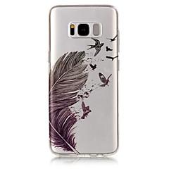 tanie Galaxy S6 Edge Etui / Pokrowce-Kılıf Na Samsung Galaxy S8 Plus S8 IMD Przezroczyste Wzór Czarne etui Pióra Miękkie TPU na S8 Plus S8 S7 edge S7 S6 edge S6 S5