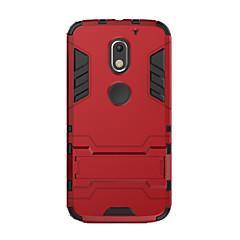 Недорогие Чехлы и кейсы для Motorola-Кейс для Назначение Motorola Защита от удара со стендом Кейс на заднюю панель Сплошной цвет Твердый ПК для Moto X Play Мото G4 Plus MOTO