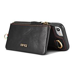 Для Кошелек Бумажник для карт со стендом Кейс для Задняя крышка Кейс для Один цвет Твердый Натуральная кожа для AppleiPhone 7 Plus iPhone