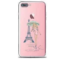 Недорогие Кейсы для iPhone-Кейс для Назначение Apple iPhone 7 Plus iPhone 7 Прозрачный С узором Кейс на заднюю панель Соблазнительная девушка Эйфелева башня Мягкий