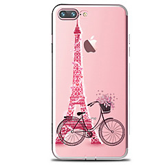billige iPhone 4s / 4-etuier-Etui Til Apple iPhone X iPhone 8 iPhone 8 Plus Transparent Mønster Bagcover Eiffeltårnet Blødt TPU for iPhone X iPhone 8 Plus iPhone 8