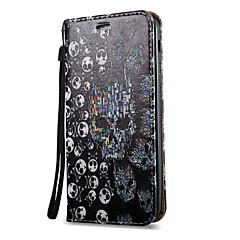 voordelige Galaxy A5 Hoesjes / covers-hoesje Voor Samsung Galaxy A5(2017) A3(2017) Kaarthouder met standaard Flip Magnetisch Patroon Volledig hoesje Doodskoppen Hard PU-nahka