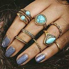 abordables Bijoux pour Femme-Femme Turquoise Bague - Alliage Original, Rétro, Mode Taille Unique Or Pour Soirée Quotidien Décontracté / 8pcs