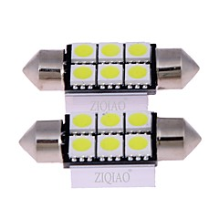 voordelige -Ziqiao wit 36mm 5050 6 smd led c5w auto led auto binnenkoepel koepel deur gloeilamp weg verlichting werk lamp (12v / 2pcs)