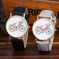 preiswerte Damenuhren-Damen Armbanduhr Chinesisch Cool / / / Mehrfarbig Leder Band Glanz / Freizeit / Modisch Schwarz / Weiß / Braun