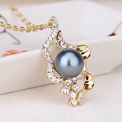preiswerte Halsketten-Damen Anhängerketten - Perle, Künstliche Perle, Gold Pearl Herz Einzigartiges Design, Modisch, Euramerican Gold, Weiß, Grau Modische Halsketten Für Party, Zeremonie / Schwarze Perle