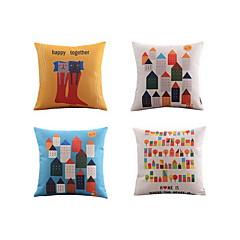 4.0 kpl Pellava Tyynyliina Sänkytyyny Body-tyyny Matkatyyny sohva tyyny,Geometrinen Luonto Eläinpainatus Asetelma Graafiset tulosteet