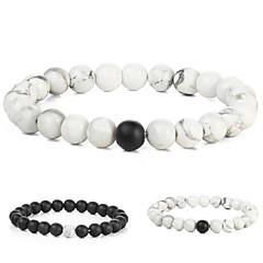 halpa Bracelet-Miesten Naisten Amuletti-rannekorut - Muoti Circle Shape Valkoinen Musta Rannekorut Käyttötarkoitus Lahja