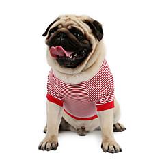 お買い得  猫の服-ネコ 犬 Tシャツ スウェットシャツ ベスト 犬用ウェア 縞柄 レッド ブルー コットン コスチューム ペット用 男性用 女性用 クラシック キュート カジュアル/普段着 ホリデー ファッション スポーツ
