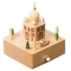 olcso -Zenedoboz Wood Model Játékok Cuki Négyzet Körhinta Merry Go Round Fa Darabok Uniszex Ajándék
