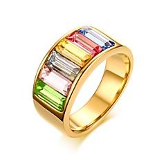 preiswerte Ringe-Damen Kubikzirkonia Statement-Ring Ring - Edelstahl Personalisiert, Grundlegend, Simple Style 6 / 7 / 8 Verschiedene Farben Für Party Jahrestag Geburtstag