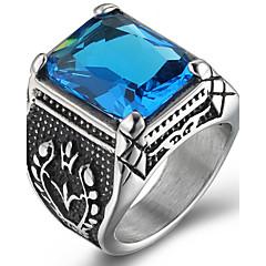 cheap Men's Jewelry-Men's Ring Statement Ring Acrylic Purple Red Blue Acrylic Titanium Steel Square Personalized Euramerican Hip-Hop Fashion Rock Punk