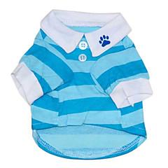 お買い得  犬用ウェア&アクセサリー-ネコ 犬 Tシャツ 犬用ウェア 縞柄 レッド ブルー コットン コスチューム ペット用 男性用 女性用 カジュアル/普段着