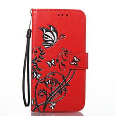 Недорогие Чехлы и кейсы для LG-Кейс для Назначение LG K8 LG LG K7 Бумажник для карт Кошелек со стендом Магнитный С узором Чехол Мягкий для LG G6