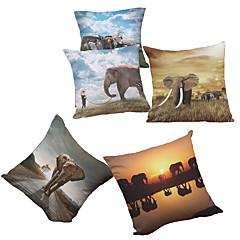 5 PC Felpilla Natural/Orgánico Cobertor de Cojín Funda de almohada,Floral Sólido Con Texturas A cuadrosCasual Retro Tradicional/Clásico