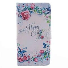 Voor Samsung Galaxy Note 4 Case Cover Kaarthouder Portemonnee Met Stand Flip Pattern Full Body Case Woord / Fragment Flower Hard Pu