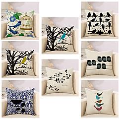 abordables Almohadas-8.0 PC Algodón / Lino Cobertor de Cojín / Funda de almohada, Novedad / Animal / Moda Vintage / Casual / Retro