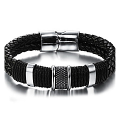 Men's Leather Bracelet Punk Hip-Hop Rock Costume Jewelry Fashion Vintage Leather Stainless steel Circle Round Geometric Jewelry For