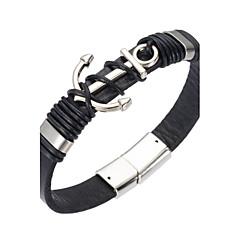 voordelige Herensieraden-Heren Lederen armbanden / Magnetische armband - Leder Natuur, Modieus Armbanden Zwart Voor Speciale gelegenheden  / Lahja