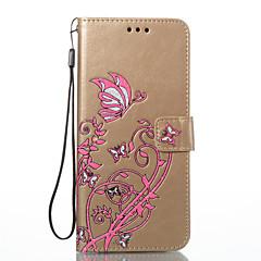 Etui Til Samsung Galaxy S8 Plus S8 Pung Kortholder Med stativ Flip Præget Heldækkende Sommerfugl Blomst Hårdt Kunstlæder for S8 S8 Plus