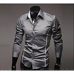 Недорогие Мужские рубашки-Муж. Офис Классический Рубашка Хлопок, Воротник-визитка Тонкие Однотонный / Длинный рукав
