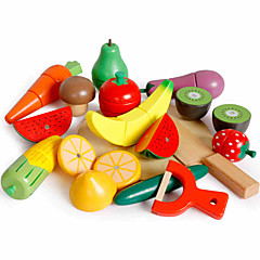 hesapli -Oyuncak Yiyecekler Oyuncaklar Meyve & Sebze Sebze-Meyve Kesiciler Manyetik Ahşap Çocuklar için Parçalar