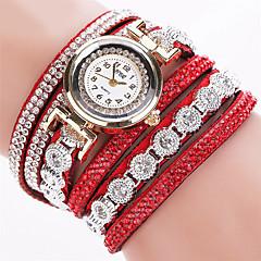 お買い得  レディース腕時計-女性用 クォーツ ブレスレットウォッチ 模造ダイヤモンド レザー バンド 光沢タイプ / ファッション ブラック / 白 / シルバー