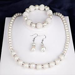 Dames Bruidssieradensets Imitatie Parel Modieus Feest Dagelijks Parel Rond 1 Ketting 1 Paar Oorbellen 1 Armband