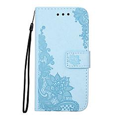olcso Galaxy S6 tokok-Case Kompatibilitás Samsung Galaxy S7 edge S7 Kártyatartó Pénztárca Állvánnyal Flip Mágneses Minta Dombornyomott Héjtok Virág csipke
