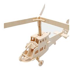 رخيصةأون -قطع تركيب3D تركيب النماذج الخشبية طيارة بناء مشهور هليكوبتر اصنع بنفسك خشب كلاسيكي للأطفال للجنسين هدية