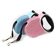 お買い得  犬用首輪/リード/ハーネス-ネコ 犬 リード 携帯用 ラインストーン プラスチック ナイロン ブルー ピンク