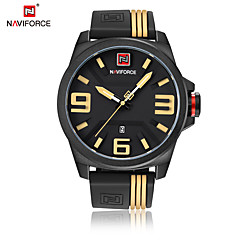 お買い得  メンズ腕時計-NAVIFORCE 男性用 リストウォッチ 日本産 クォーツ 30 m 耐水 カレンダー クール シリコーン バンド ハンズ カジュアル ファッション ブラック - イエロー レッド ホワイトとイエロー 2年 電池寿命 / Maxell626 + 2025