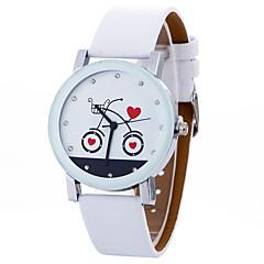 preiswerte Damenuhren-Damen Armbanduhren für den Alltag Sportuhr Modeuhr Quartz Kreativ Cool Leder Band Analog Charme Luxus Freizeit Schwarz / Weiß - Weiß Schwarz