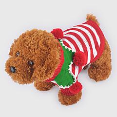 お買い得  犬用ウェア&アクセサリー-犬 セーター 犬用ウェア 縞柄 レッド / グリーン / ストライプ ウール コスチューム ペット用 クリスマス