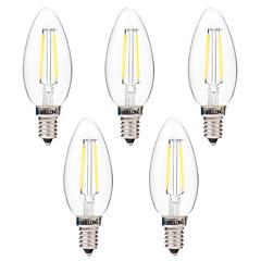 preiswerte LED-Birnen-BRELONG® 5 Stück 2W 200lm E14 LED Glühlampen C35 2 LED-Perlen COB Abblendbar Warmes Weiß Weiß 220-240V