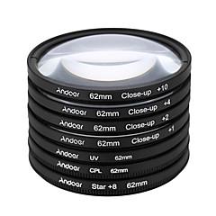 Andoer 62mm uv cpl star8close-up (1 2 4 10) fotografía filtro ultravioleta circular-polarización estrella 8 puntos macro close-up lente
