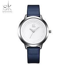 SK Mujer Reloj Deportivo Reloj de Pulsera Chino Cuarzo Resistente a los Golpes PU Banda Cool Casual Elegantes Minimalista Azul marino
