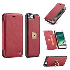 Недорогие Кейсы для iPhone 6 Plus-Кейс для Назначение IPhone 7 / iPhone 7 Plus / iPhone 6s Plus iPhone 8 / iPhone 8 Plus Кошелек / Бумажник для карт / Кольца-держатели Чехол Однотонный Твердый Настоящая кожа для iPhone 8 Pluss