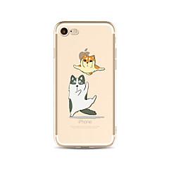 Кейс для Назначение Apple iPhone X iPhone 8 Plus Прозрачный С узором Задняя крышка Кот С собакой Мягкий TPU для iPhone X iPhone 8 Plus