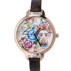 お買い得  フラワーパターン 腕時計-女性用 リストウォッチ ファッションウォッチ クォーツ ホット販売 レザー バンド 花型 ボヘミアンスタイル ブラック レッド ブラウン ゴールド ネービー ローズ