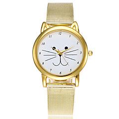 Dames Dress horloge Modieus horloge Japans Kwarts Legering Band Cartoon Bedeltjes Vrijetijdsschoenen Kat Elegante horloges Goud