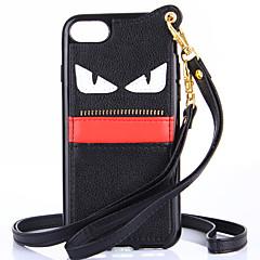 Недорогие Кейсы для iPhone-Чехол для iphone 7 7 плюс чехол чехол длинная и короткая цепь маленького дьявола tpu паста материала с карманом для шнурка для iphone 6 6s