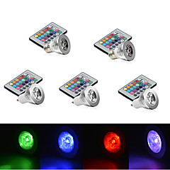 E14 GU10 E26/E27 LED Stage Lights MR16 1 High Power LED 250 lm RGB RGB K Dimmable Remote-Controlled Decorative AC 85-265 V