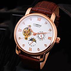 preiswerte Herrenuhren-Herrn Armbanduhr / Mechanische Uhr Wasserdicht Leder Band Luxus / Glanz Schwarz / Braun / Automatikaufzug