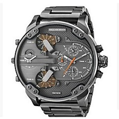 cheap -Men's Military Watch Dress Watch Fashion Watch Wrist watch Chinese Quartz Calendar / date / day Dual Time Zones Punk Large Dial Stainless
