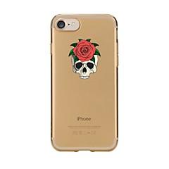 Недорогие Кейсы для iPhone 7-Кейс для Назначение Apple iPhone 7 Plus iPhone 7 Прозрачный С узором Кейс на заднюю панель Черепа Мягкий ТПУ для iPhone 7 Plus iPhone 7