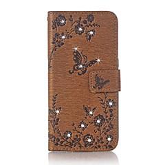 Para la cubierta del caso el rhinestone de la carpeta del sostenedor de la tarjeta con el soporte flip realzó la caja llena del cuerpo