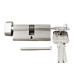 cilinderslot duim beurt cilinder 70mm (35/35), cilinderslot met knop met 3 sleutels, borstelnikkel