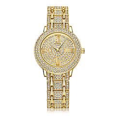 preiswerte Damenuhren-Damen damas Armbanduhr Kalender Kreativ Imitation Diamant Edelstahl Band Analog Glanz Punkt Freizeit Silber / Gold / Rotgold - Gold Silber Rotgold